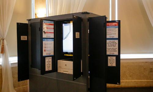A voting machine.